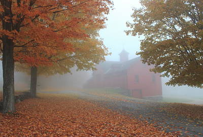 Red Barn In Autumn Fog Art Print by John Burk