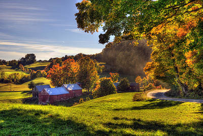 Country Scene Photograph - Red Barn In Autumn - Jenne Farm by Joann Vitali