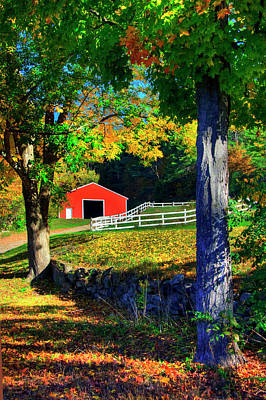 Photograph - Red Barn In Autumn - Keane, Nh by Joann Vitali