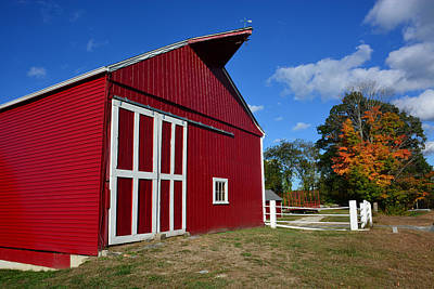 Photograph - Red Barn In Autumn by Mike Martin