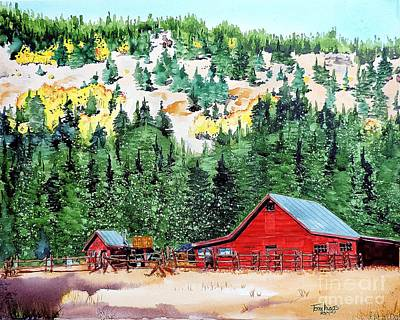 Painting - Red Barn In Autumn by Tom Riggs