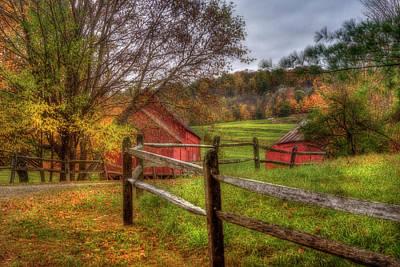 Autumn Scene Photograph - Red Barn In Autumn - Vermont Farm by Joann Vitali