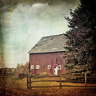 Photograph - Red Barn In Autumn - Vintage Art by Joann Vitali