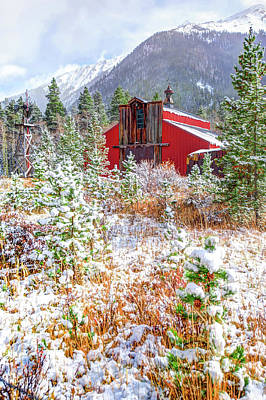 Photograph - Red Barn In Colorado Rocky Mountain Country Landscape by Gregory Ballos