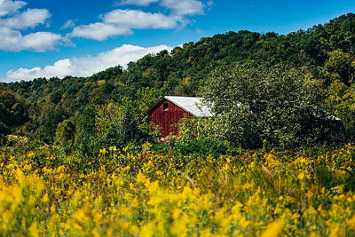 Goldenrod Photograph - Red Barn In Early Autumn by Shane Holsclaw