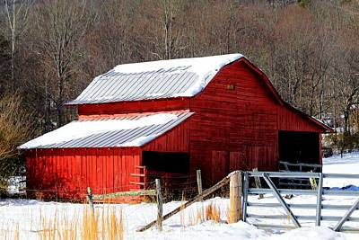 Photograph - Red Barn In Snow by Carol Montoya