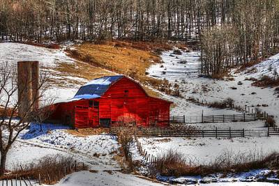 Photograph - Red Barn In Snow IIi by Carol Montoya