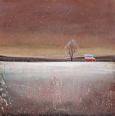 Red Barn In Snow Art Print by Toni Grote