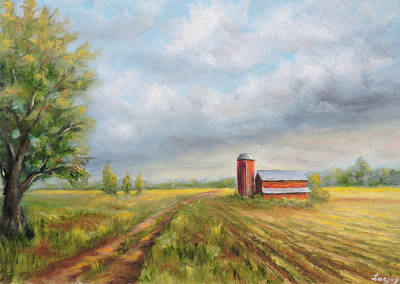 Painting - Red Barn In Spring by  Luczay