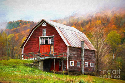 Red Barn In The Blue Ridge Mountains Print by Garland Johnson