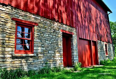 Red Barn In The Shade Art Print