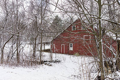 Photograph - Red Barn In The Snow by Jennifer White