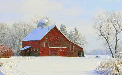 Photograph - Red Barn In The Snow by Julie Lueders