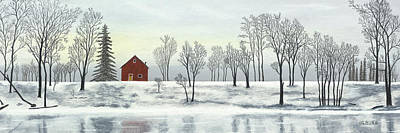 Pastel - Red Barn In Winter by George Burr