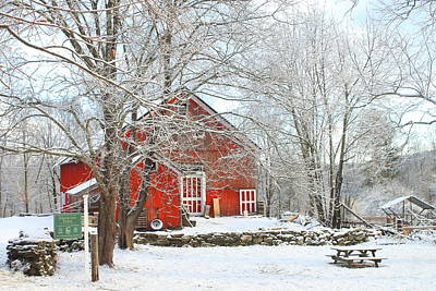 Photograph - Red Barn In Winter by John Burk