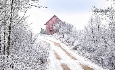 Photograph - Red Barn In Winter by Patti Raine