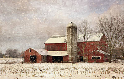 Photograph - Red Barn In Winter by Scott Fracasso