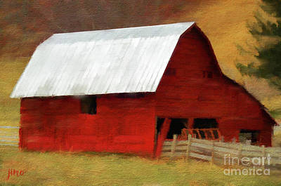 Digital Art - Red Barn by Jim Hatch