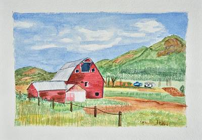 Western Art - Red Barn Landscape by Linda Brody