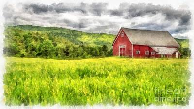Red Barns Painting - Red Barn Landscape Watercolor by Edward Fielding