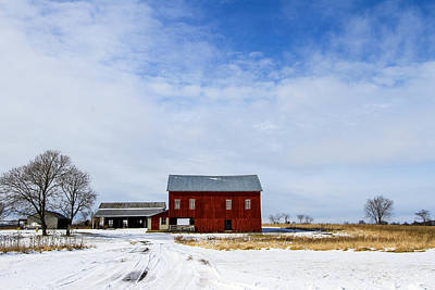 Barns In Snow Pyrography - Red Barn by Menachem Ganon