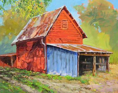 Mike Martin Painting - Red Barn by Mike Martin