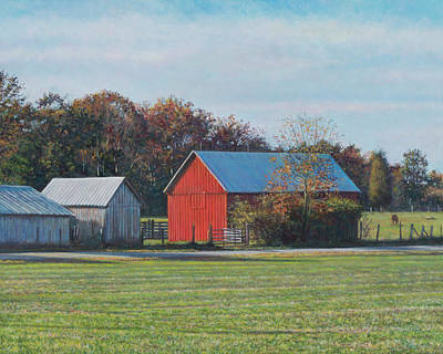 Painting - Red Barn Off Colton Point Rd. by David P Zippi