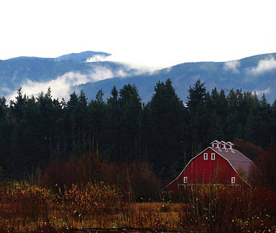 Photograph - Red Barn - Olympic Mountains by Marie Jamieson