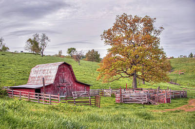 Photograph - Red Barn On The Hillside by Gregory Ballos