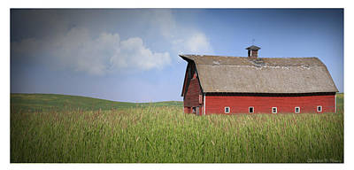 Old Barns Mixed Media - Red Barn Pano by Melisa Meyers