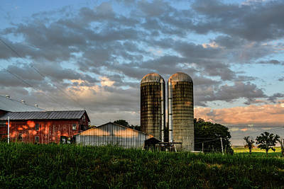 Photograph - Red Barn Shadows And Clouds by Tana Reiff