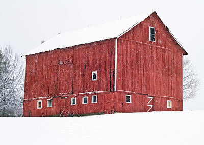 Barns In Snow Photograph - Red Barn Snow Storm  by Tim Fitzwater