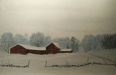 Art Print featuring the painting Red Barn Storm by Ken Ahlering