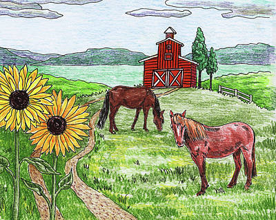 Painting - Red Barn Sunflowers Horses by Irina Sztukowski