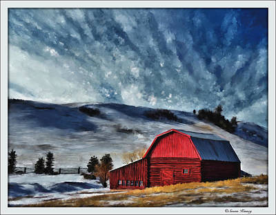 Digital Art - Red Barn by Susan Kinney