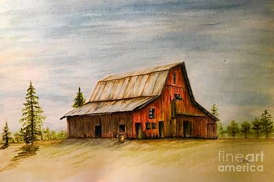 Red Barn Art Print by Ted Reeves