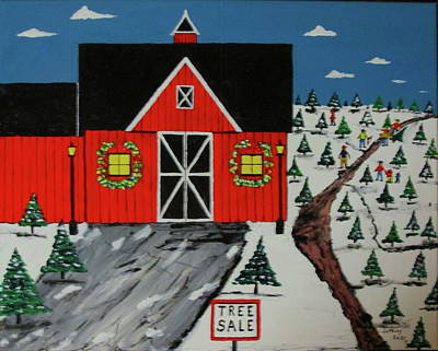 Painting - Red Barn Tree Farm by Jeffrey Koss