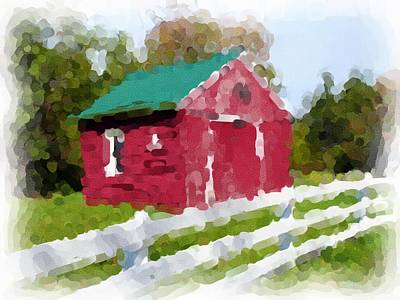 Red Barn Vermont Watercolor Art Print by Ralph Liebstein
