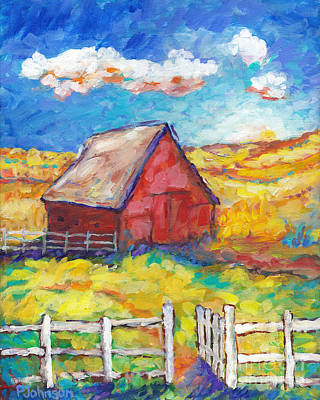 Painting - Red Barn And Golden Fields by Peggy Johnson