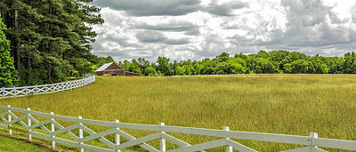 Photograph - Red Barn White Fence Panorama 02 by Jim Dollar