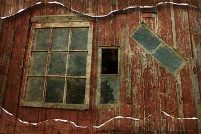 Photograph - Red Barn Windows Rip by Alice Gipson