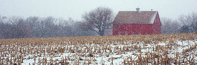 Photograph - Red Barn - Winter Field by Nikolyn McDonald