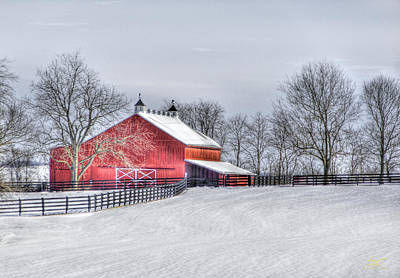 Photograph - Red Barn Winter by Sam Davis Johnson