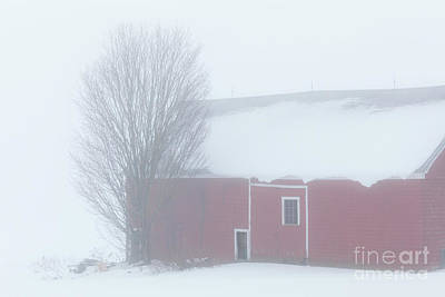 Photograph - Red Barn Winter Thaw by Alan L Graham