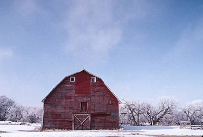 Photograph - Red Barn Winter by William Kimble