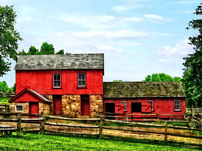 Photograph - Red Barn With Fence by Susan Savad