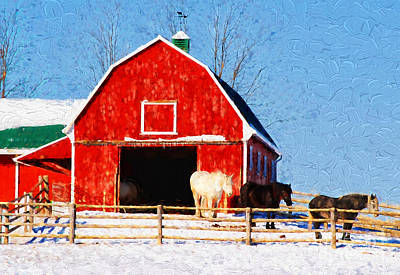 Photograph - Red Barn With Horses - V2 by Les Palenik