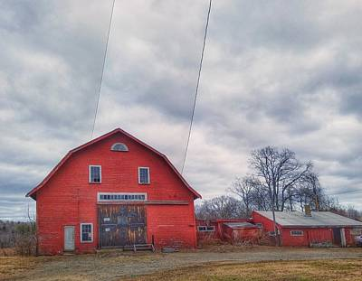 Photograph - Red Barn With Telephone Wires by Mary Capriole