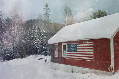 Photograph - Red Barn With Us Flag - Americana by Joann Vitali