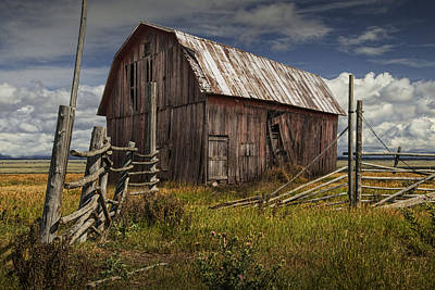 Photograph - Red Barn With Wood Fence On An Abandoned Farm by Randall Nyhof
